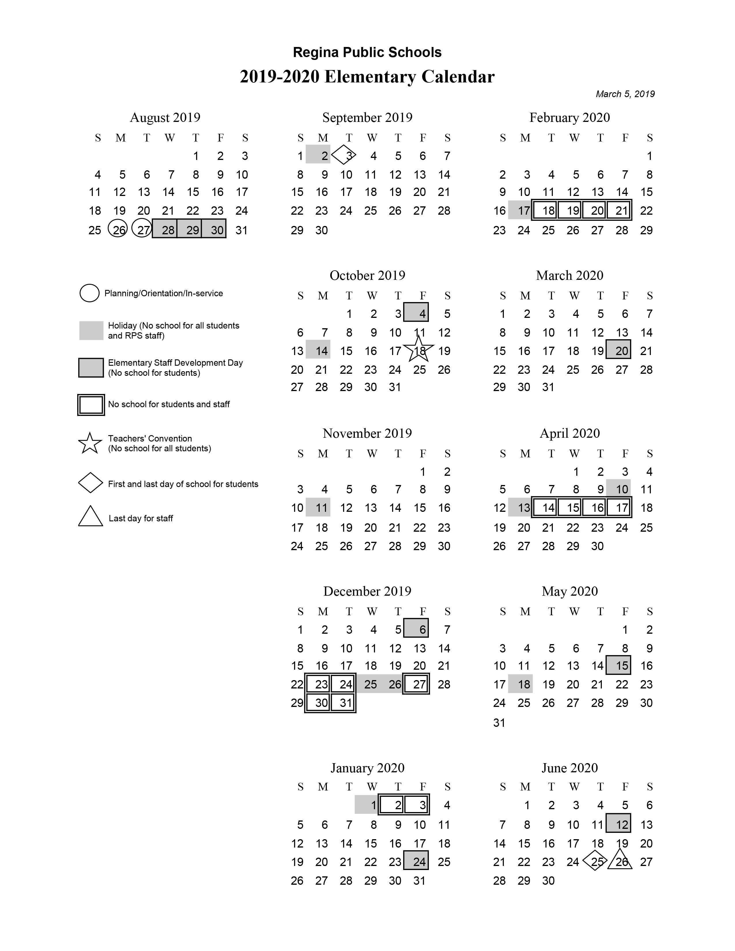 Rps Calendar 2020 Elementary Calendar 2019 20   Regina Public Schools